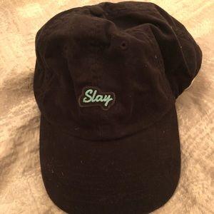 Black baseball cap. Slay on front 30d98ffaed99